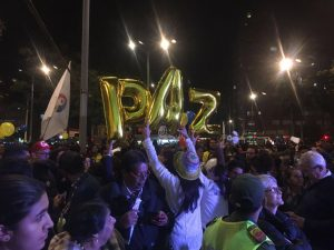 Crowds celebrate news of the agreement in Bogotá.